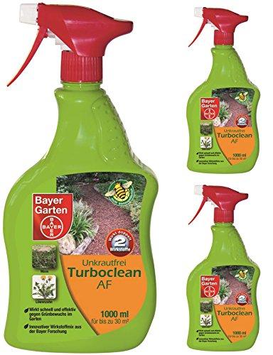 GARDOPIA Sparpaket: 3 x 1 Liter Bayer Unkrautfrei Turboclean AF Anwendungsfertig + Gardopia Zeckenzange mit Lupe