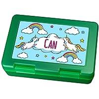 Preisvergleich für Brotdose mit Namen Can - Motiv Einhorn, Lunchbox mit Namen, Frühstücksdose Kunststoff lebensmittelecht