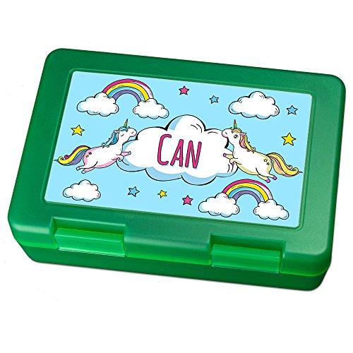Brotdose mit Namen Can - Motiv Einhorn, Lunchbox mit Namen, Brotdose Light Green - Frühstücksdose Kunststoff lebensmittelecht