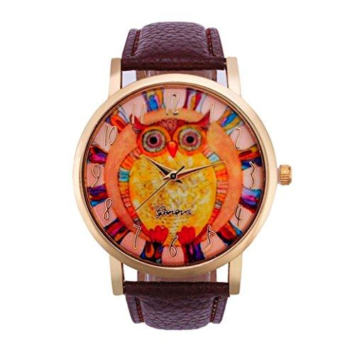 Vovotrade mujeres populares lindo búho animal patrón de banda de cuero analógico reloj de cuarzo (marrón)