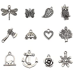 Bingcute Großhandel 100 Stück Gemischt Antik Silber Anhänger DIY für Schmuck und Basteln