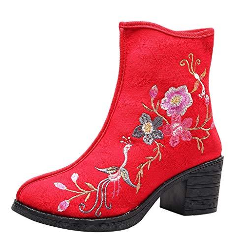 Frauen Hoch Dehnbar Waden Plateau Schuhe Damen Hoher Stiletto Absatz Hochziehen Knöchel Socken Stiefel 814134rot -