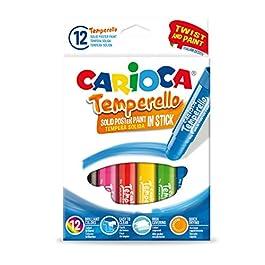 Carioca TEMPERELLO   42738 – Tempere Solide in Stick, Colori Assortiti Brillanti e Coprenti, 12 Pezzi