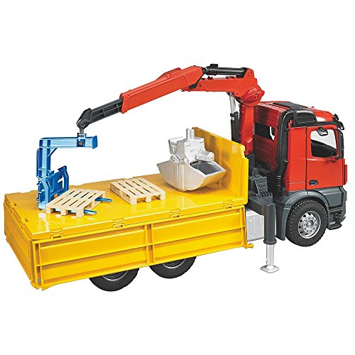 Image of Bruder MB Arocs Construction Truck with Crane Clamshell Buckets and Pallets
