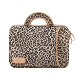 Stile Leopardo Tessuto di Tela Custodia Borsa Involucro Sleeve Case per Netbook/Laptop/Notebook/Computer Portatile/MacBook 13-13.3 Pollici,Gestire Marrone