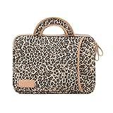 Laptoptasche Tasche für Laptop/Notebook Notebooktasche,Kühler Leopard,【Wasserdicht】,【Shockproof】,【Anti-Scratches】,Canvas-Gewebe Hülle Sleeve Tasche,Griff braun
