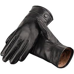 TININNA Hombres Cashmere Guantes de invierno de cuero de conducción invierno guantes calientes Negro L