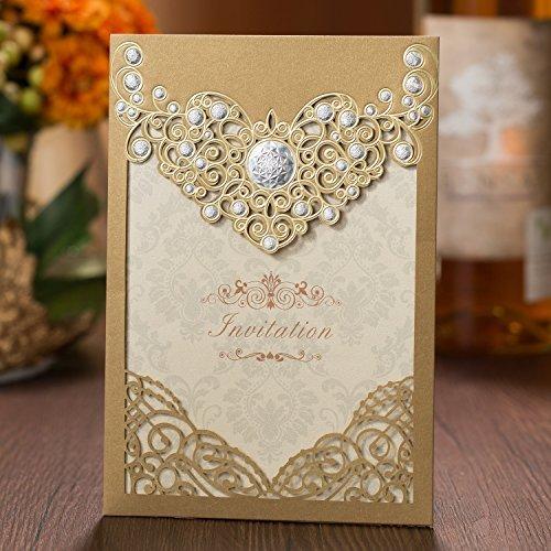 50Pear Papier Laser geschnitten Bronzing Hochzeit Baby Dusche Einladung Karten mit Schmetterling Hohl Einladung tonkartons Gastgeschenken für Verlobung Geburtstag Graduation Yc072