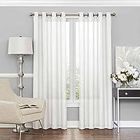 ستائر شفافة لغرفة النوم من ECLIPSE - الحرية 52 بوصة × 95 بوصة لترشيح الضوء جروميت أعلى ستارة نافذة واحدة لغرفة المعيشة، أبيض