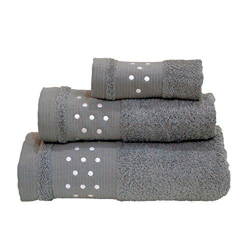 Lunares Toallas De Baño De–Juego de 3piezas–Toalla de mano, toalla de baño (+ + toalla para la cara (–Gris w/color blanco