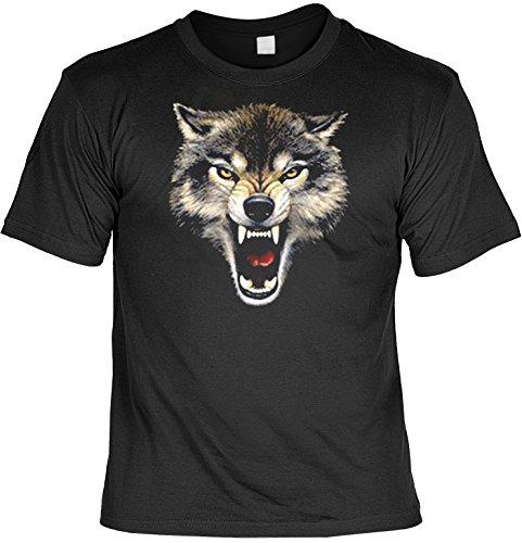 Indianer T-Shirt böser Wolfskopf Wild West T-Shirt Spirit Western American Free Spirit Amerika Schwarz