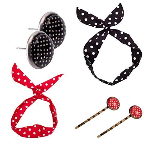 Rockabilly Set rock gepunktet Kostüm Punkte Accessiores für Damen in schwarz weiß mit Cateye Brille, Haarband, Haarreif, Haarschmuck Ohrringe, Halstuch für Fasching Karneval Mädchen und Damen (Accesoires Schmuck) (Rock Designs Bluse)