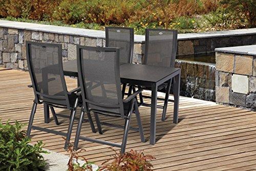 Hartman Alu Gartenset Gartenstuhl Gartentisch 5 tlg. 4 Klappsessel 1 Tisch Adelaide Gartenmöbel...