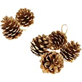 9pcs Pinecones Baubles Hanging Christmas Tree Holiday Decoration Pine Cone - gold, 5cm/2.36 inch