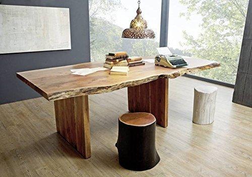 Massiv Esstisch Baumkante BaumtischmitAnsteckplatte Akazie 240-300x110x78cm walnuss lackiert FREEFORM #201