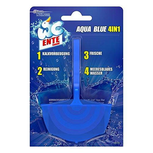 WC Ente Aqua Blue 4in1 Halter WC-Stein für Frische und Sauberkeit bis zu 3 Wochen, Blauspüler, 1er Pack (1 x 40 g) -