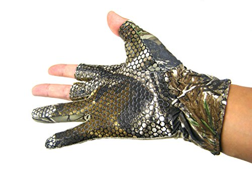 Thin Fingerless 3 Finger L Angeln Gel Handschuh Tarn Camo Anti Slip elastischen Jagd Angeln Handschuhe