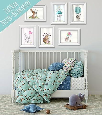 Poster-Set mit niedlichen Tieren für Baby- oder Kinderzimmer - Wanddekoration