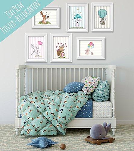 ichen Tieren für Baby- oder Kinderzimmer - Wanddekoration für Mädchen und Jungen mit süßen Tieren, Set aus 6 Stück ohne Rahmen, 13x19cm, Fotopapier, Pastellfarben (Chucks Outfits)