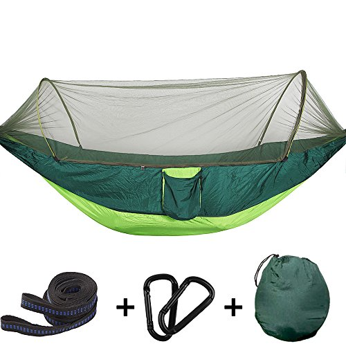 Bwiv Amaca da Campeggio Con Zanzariera Portatile Ultraleggero Amaca Outdoor Paracadute Nylon 290x145cm Portata massima 200 kg Per Escursionismo Backpacking Viaggi Verde