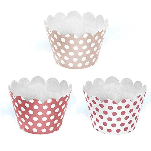 Simplydeko Cupcake-Manschetten | Wunderschöne Kuchendeko und Tortendeko zu Babyparty und Kindergeburtstag | Kuchendekoration (6 Stück, Rosa)