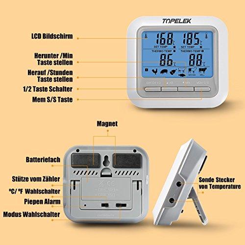 51RT8zRe00L - Fleischthermometer TOPELEK Bratenthermometer Grillthermometer 2 Sonden Haushaltsthermometer Temperatur Voreinstellung, Countdown Timer, Instant Read-Out, Magnetische Montagedesign für Küche, Grill