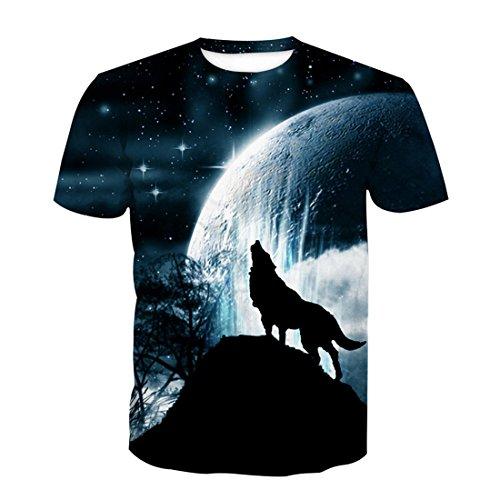 SEVENWELL Herren Digitaldruck Shirts Neuheit Graffiti Tee Tops Hip Hop Shirts Mond Wolf 4XL(Tag,Asian)=EU 2XL