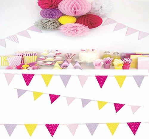 JaBaDaBaDo Wimpelkette rot rosa pink Wimpel Girlande Geburtstag Party 3 Meter