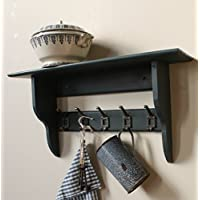 Industrial shelf with vintage-style cast iron hooks, very dark grey, nearly black, 2 to 10 hooks