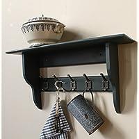 Industrial shelf with vintage-style cast iron hooks, very dark grey, nearly black, 2 to 10 hooks