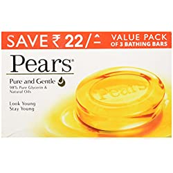 Pears Pure and Gentle Soap Bar, 125g (Pack of 3, Now at Rupees 22 off)