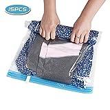 BUONDAC 15 STK / 3 Größe Reise Vakuumbeutel Kleidung Aufbewahrungsbeutel Vakuum Vakuumsack für Kleider, Decken, Handtücher Kleideraufbewahrung Kleidersack Kleiderbeutel, Keine Pumpe benötigt
