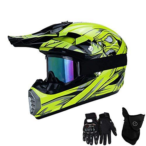 Chuang MT-520 Motorradhelm, Full face Motocross Helm Sport Adventure Racing Motorrad-Helm Motocross Schutzhelm MTB Schutz Sicherheit Helm mit Handschuhe Maske Brille