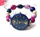 Orologio Bracciale Elastico da Donna con Perle di Legno Blu Pink VIola Regalo per Lei Fatto a Mano