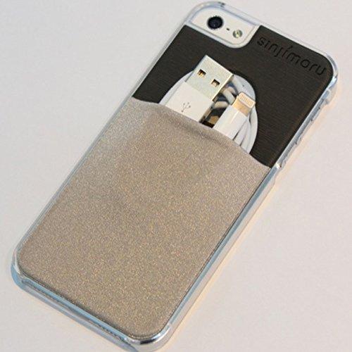 Sinjimoru sinji Étui portefeuille fin Support Coque rigide transparente pince à billets pour cartes pour iPhone 5/5S rose vif