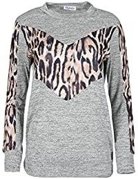 Be Jealous Ladies Polo Neck Marl Sweatshirt Party Top Women's Long Sleeve Baggy Casual Cuffed Leopard Pullover