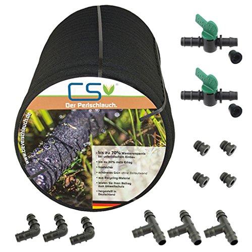 50m CS Perlschlauch drucklos mit Anschluss - Set - Hochbeet-anschlüsse