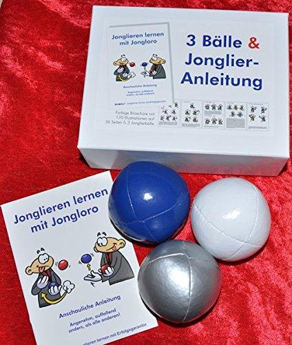 3 Bälle & Jonglier-Anleitung (blau, weiß, silber): Große Jonglierbälle (jeweils 68mm/130g)