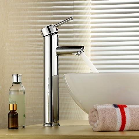 Inchant moderne mitigeur Mélangeur lavabo Robinetterie Grand Bathroom Vanity Vessel Sink Faucet trou simple salle d'eau lavabo en laiton chromé mitigeur, Pont du Mont
