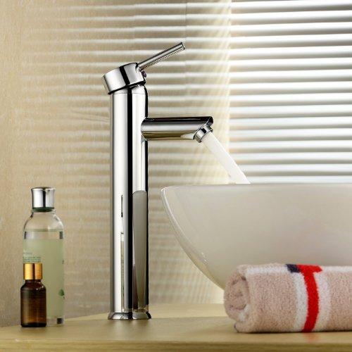 Inchant Moderne Einhand-Waschtischmischer Taps Hoch Waschtisch im Bad-Behälter-Wannen-Hahn-einzelnes Loch-Waschraum Toilette-Chrom-Messing-Mischer-Hahn, Deck Berg (Armaturen Wanne Einzelne)