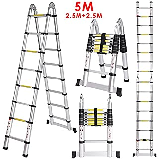 Homdox Aluminum Telescopic Ladder A Frame Multi-purpose Extendable Ladder 5m Maximum Loading 150kg (EN131/CE Certificate included)