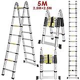 5M Escalera Telescópica Plegable de Aluminio con 18 Escalones Antideslizantes Capacidad de 150kg Perfecta para Oficina, Casa y Desván, Portátil, Multi-Propósito y Extensible