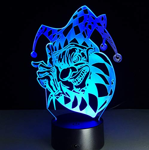 7 Farbe Lampe Halloween Clown 3d visuelle LED Nachtlichter Touch Usb Tabelle Baby Sleeping Nightlight