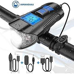 Tesecu Lampe Vélo LED Ordinateur, 3 en 1 Éclairage vélo avec Compteur LCD Écran et Sonnette 120db, 4 Modes de Luminosité, Éclairage USB Antichoc IPX64 Impermeable VTT VTC Cycliste Poussette Camping