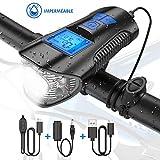 Tesecu Lampe Vélo LED Ordinateur, 3 en 1 Éclairage vélo avec Compteur LCD Écran et Sonnette 120db, 4 Modes de Luminosité,...