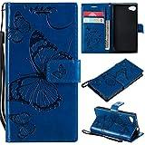 Hozor Sony Xperia Z5 Compact Handyhülle, Retro Großer Schmetterling Muster PU Kunstleder Ledercase Brieftasche Kartenfächer Schutzhülle mit Standfunktion Magnetverschluss Flip Cover Tasche, Blau