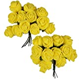 Majik Beautiful Flowers For Hairstyling (SET OF 24 FLOWERS) (Yellow)