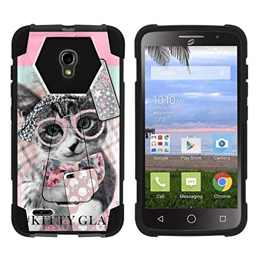 turtlearmor   Alcatel One Touch Pop Icon 2Fall   a846l   a846g [dynamisch Shell] Hard Hybrid Cover Absorber widerstandsfähigem Silikon Standfuß Auswirkungen Schutz Cool Designs -, Hipster Cat - Fall One Alcatel Touch Pop