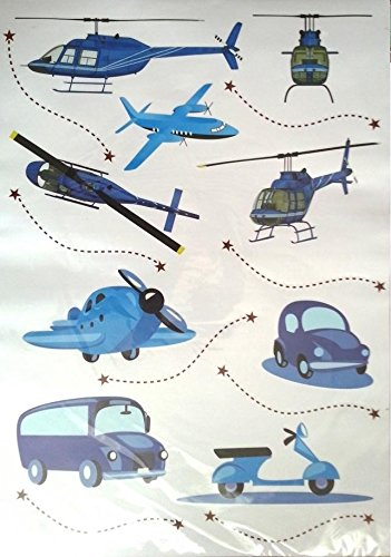 Funky Planet wall stickers Balloons Planes Cars Animals Wall Stickers Wall Decoration for Living Room Bedroom Children's Room (blue planes, 50 x 70)