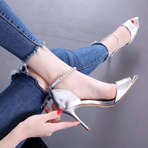 Sandali estate donne di alto modo diamante inarcamento di parola della bocca dei pesci dei pattini del tallone di modo semplice fine-tacco alto scarpe silvery